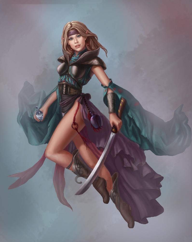 Elven Sorceress WIP by lithriel