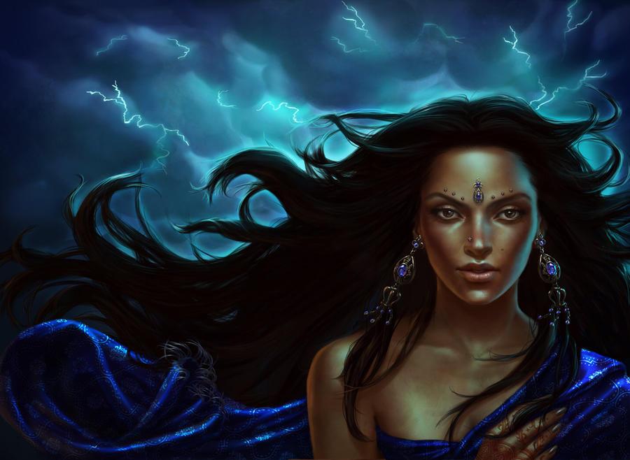 Hindu Goddess of Lightning by lithriel