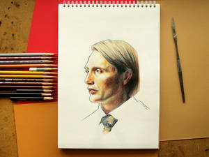 Hannibal Lecter portrait drawing