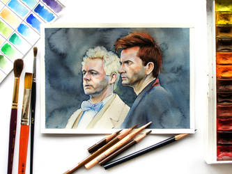 Aziraphale and Crowley watercolor
