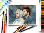 Aziraphale and Crowley watercolor by YellowSalamanderArt