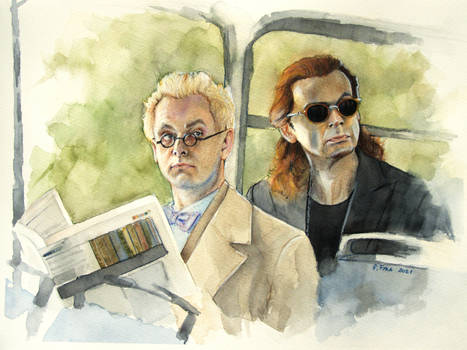 Good Omens Aziraphale and Crowley art