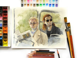 Aziraphale and Crowley watercolor Good Omens