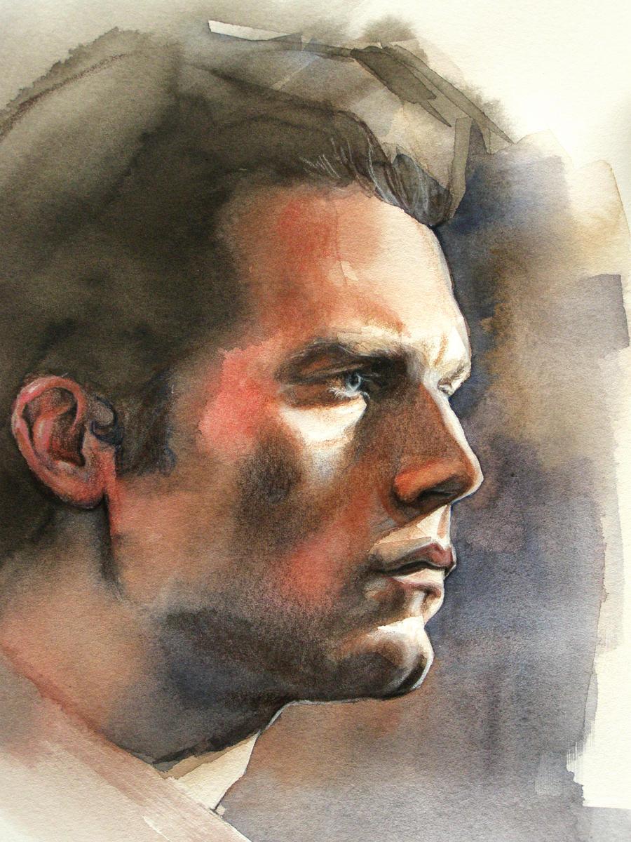 Sebastian Stan watercolor portrait