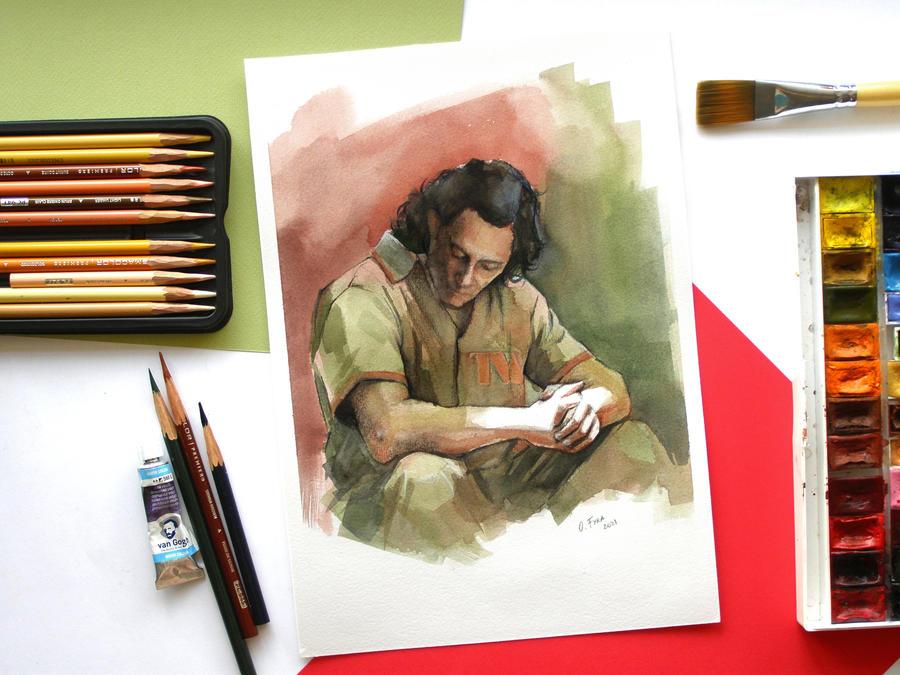 Loki watercolor painting