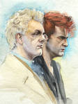 Good Omens Aziraphale and Crowley Watercolor