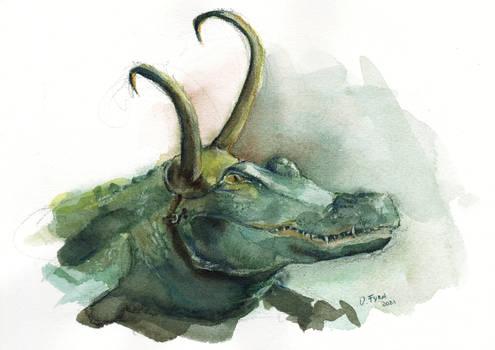 Loki Alligator, Croki watercolor