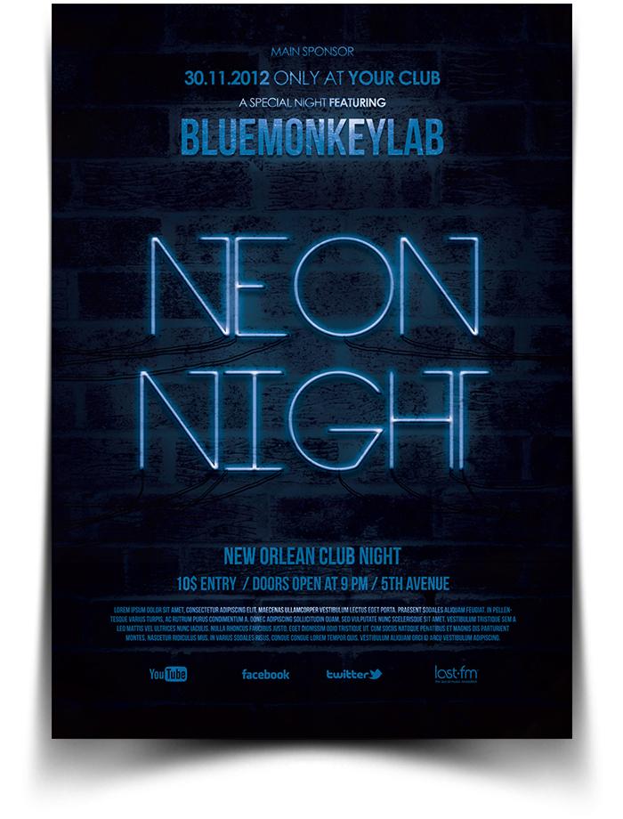 Free Neon Night Flyer / Poster by BlueMonkeyLab on DeviantArt