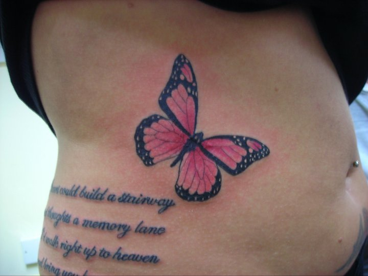 Rosary beads tattoo ankle celebrity butterfly memorial for Butterfly memorial tattoos