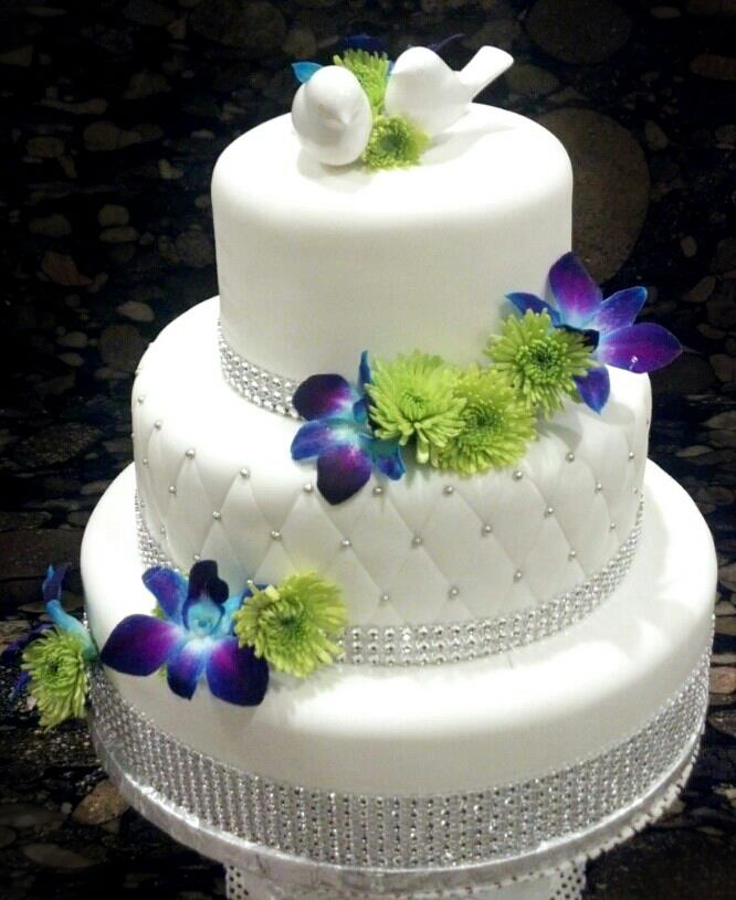 Flowers and Bling Wedding Cake by aspy on DeviantArt