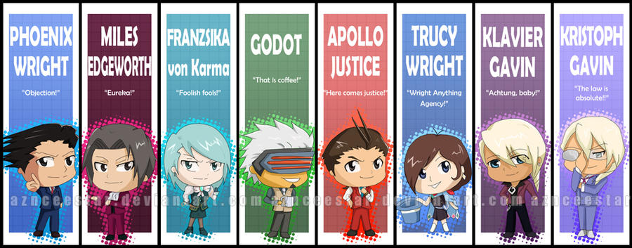 Ace Attorney Chibi Bookmarks By Aznceestar On Deviantart