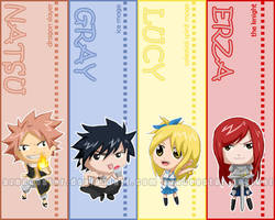 Chibi Fairy Tail bookmarks by AznCeestar