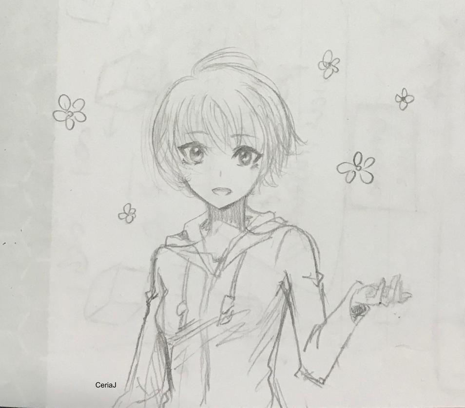 Sketch: Smiling flower girl by CeriaJ