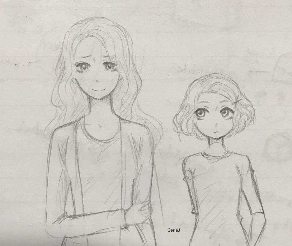 Sketch: Mum and Daughter by CeriaJ