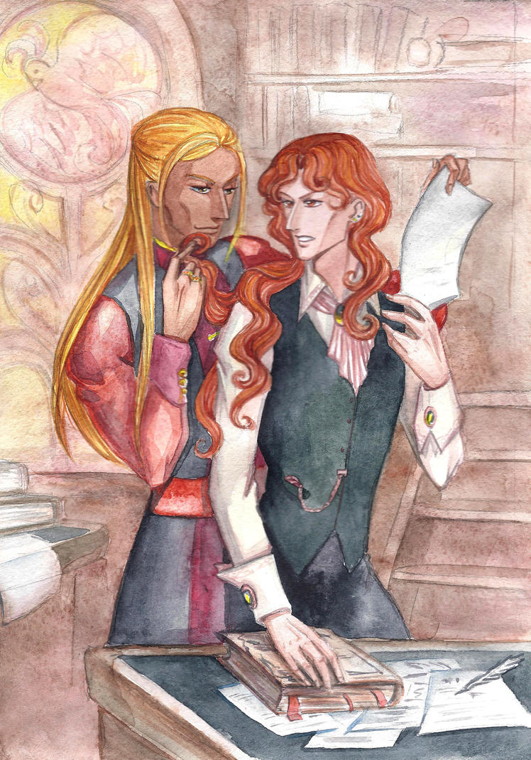Ramil and Lord Kelmor at the library by MonkeyDKiba