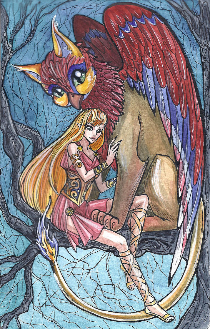 Girl and Griffin by MonkeyDKiba