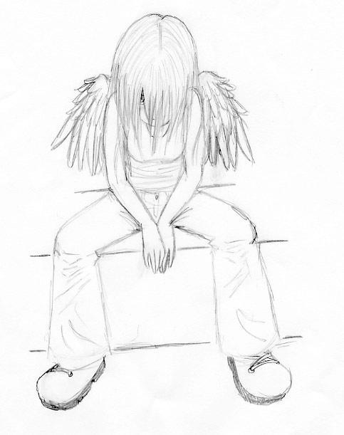 depressed angel drawings - photo #18