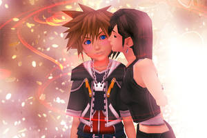 Sora and Tifa cheek kiss by PersempreKH