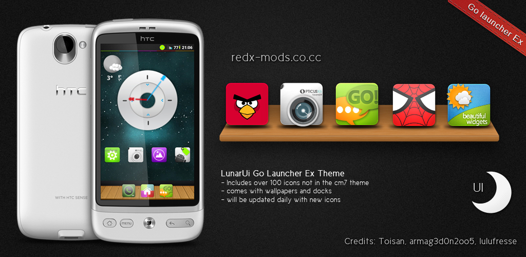 Go Launcher + Launcher Pro + Adw Launcher] LunarUi theme (in
