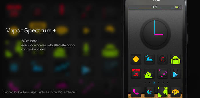 Vapor Spectrum Icons pack for Android Launchers