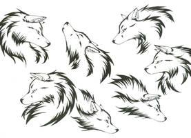 Wolf Head Tattoos by CaptainMorwen