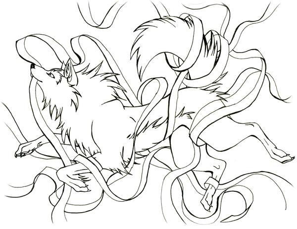 Line Art Ribbon : Ribbon wolf line art by captainmorwen on deviantart