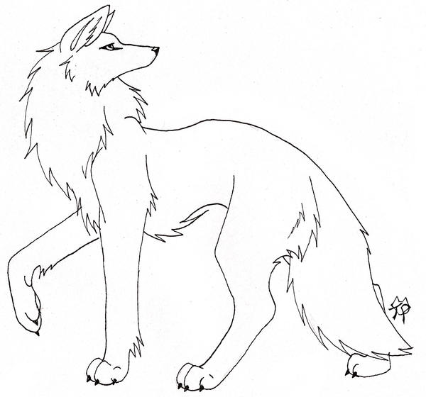 Simple Wolf Lineart : Noir wolf line art by captainmorwen on deviantart
