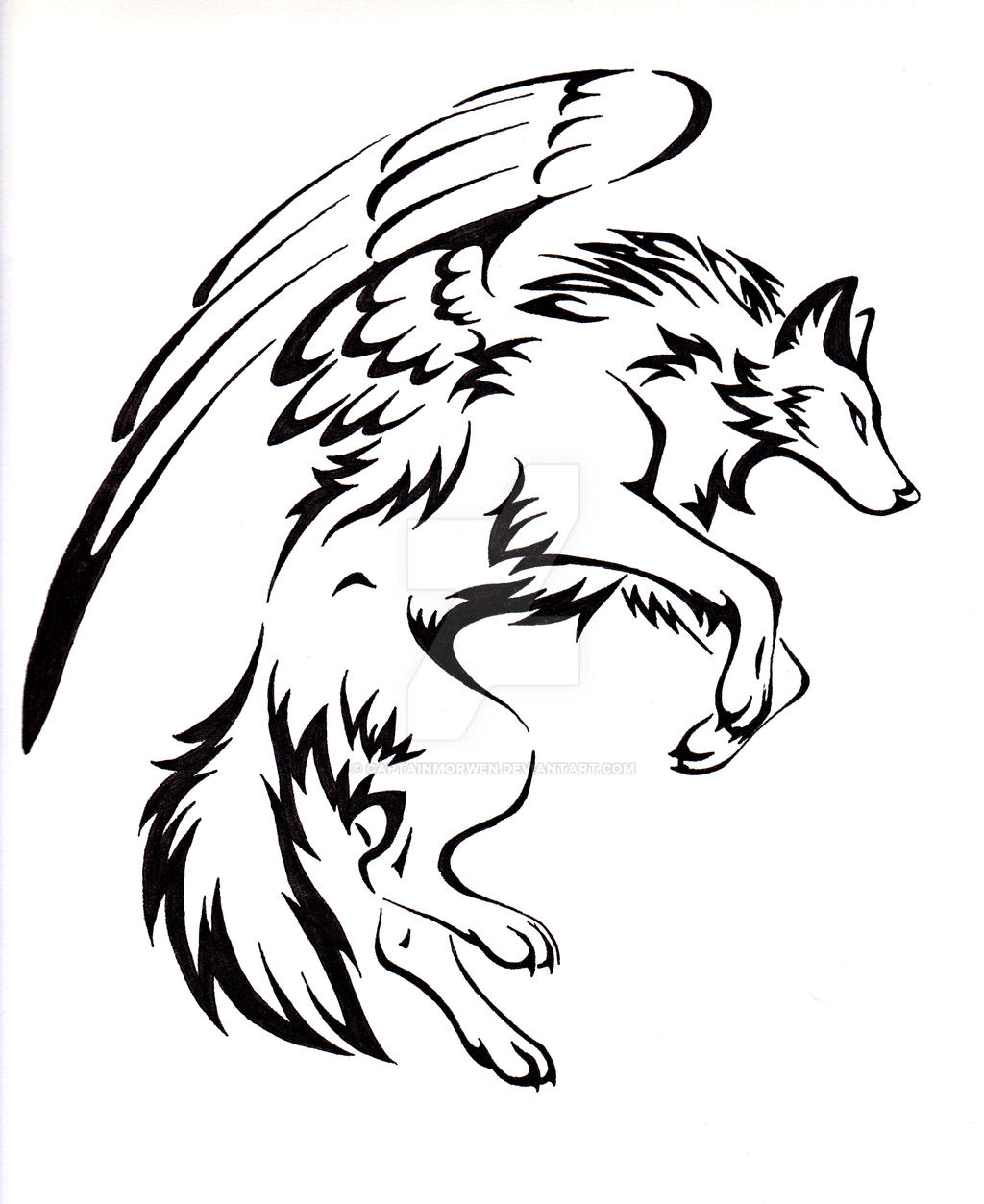 Courage Winged Wolf Tattoo by CaptainMorwen on DeviantArt