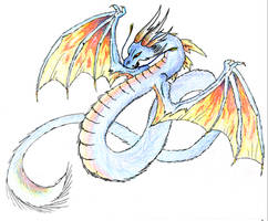 Blue Fire Dragon by CaptainMorwen