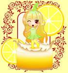 Chibi - dancing on a lemon pie! by lemon-mochi
