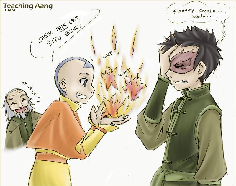 Avatar - Teaching Aang by sora-ko