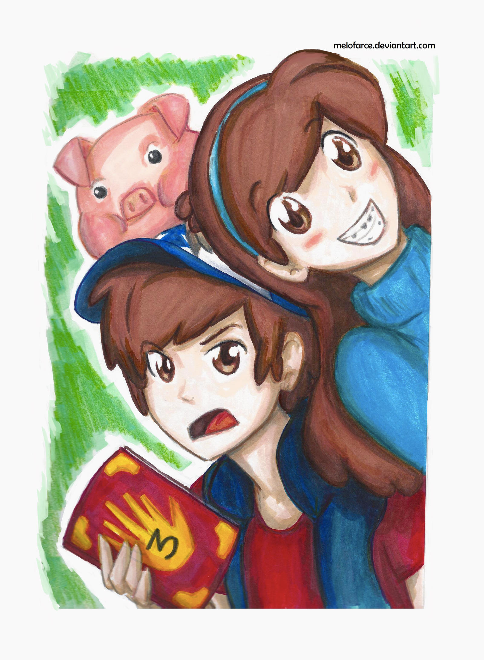Dipper and Mabel Pines feat  Waddles by melofarceGravity Falls Mabel And Waddles And Dipper