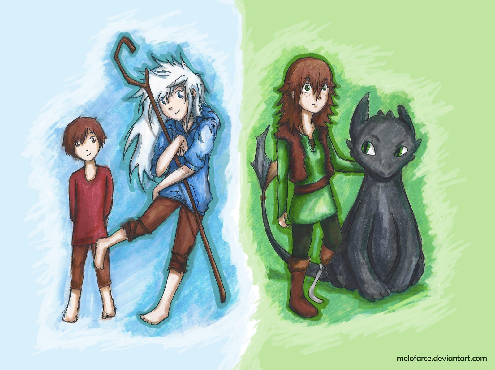 Genderbended jack frost and hiccup haddock by melofarce on for Farcical antonym