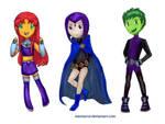 Tinny Teen Titans: Starfire, Raven, Beast Boy