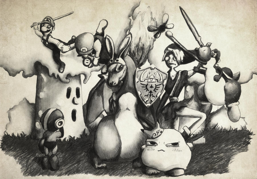 New Super Smash Bros. (charcoal) by McFlynder