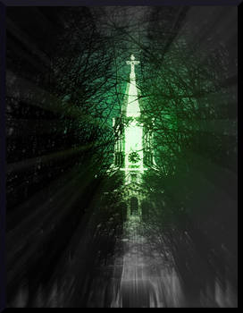 Bright Church among Dark Alley of Natures Growth