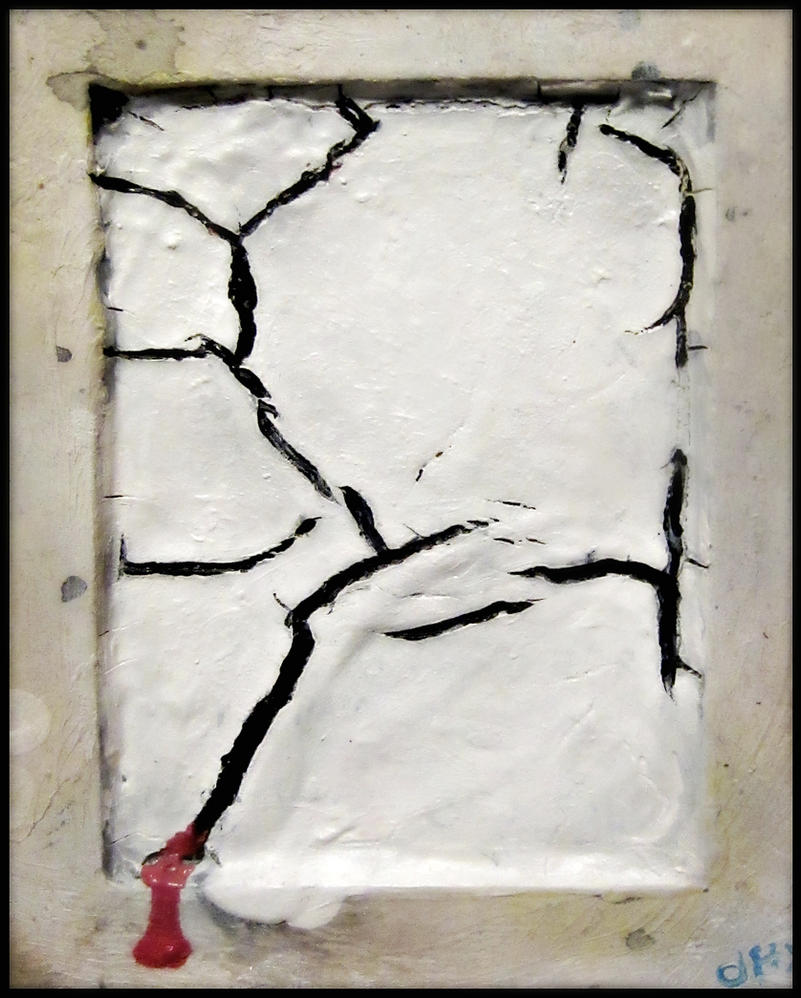 Pale Cracked Bleeding Painting with a Dirty Frame by MushroomBrain