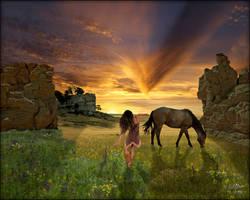 Castle Gardens Sunset 2 by MichaelAtman