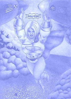 Now Kiss: Power Girl (Ballpoint Pen Effect)