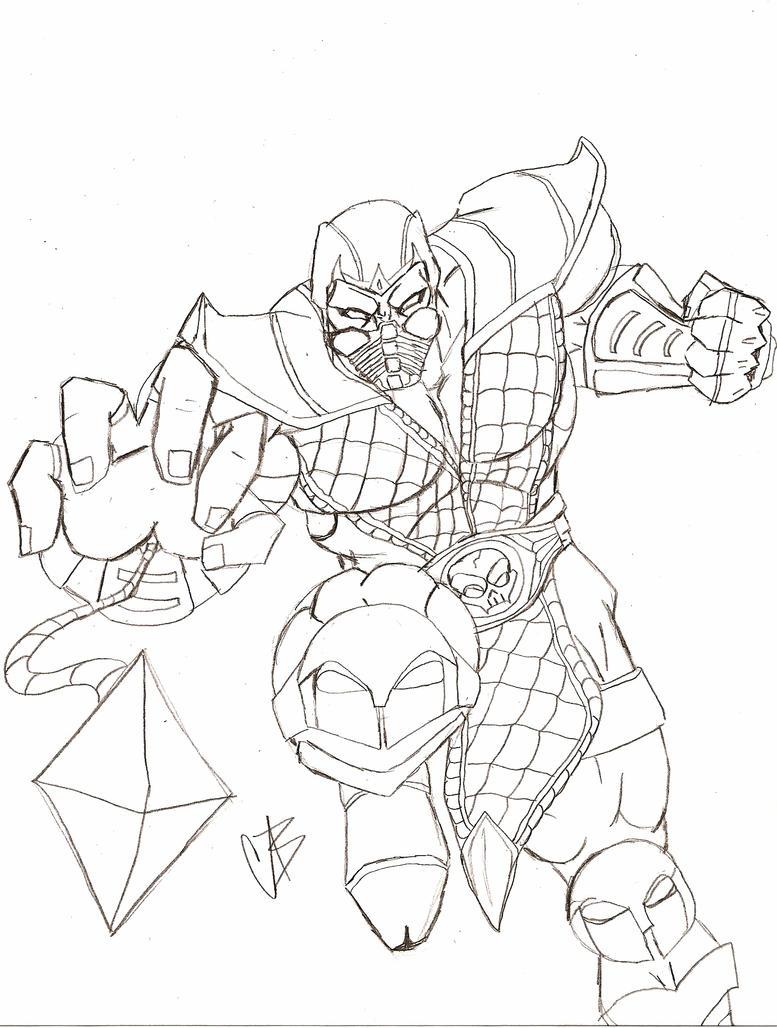 Scorpion mortal kombat by blix007 on deviantart for Scorpion coloring page