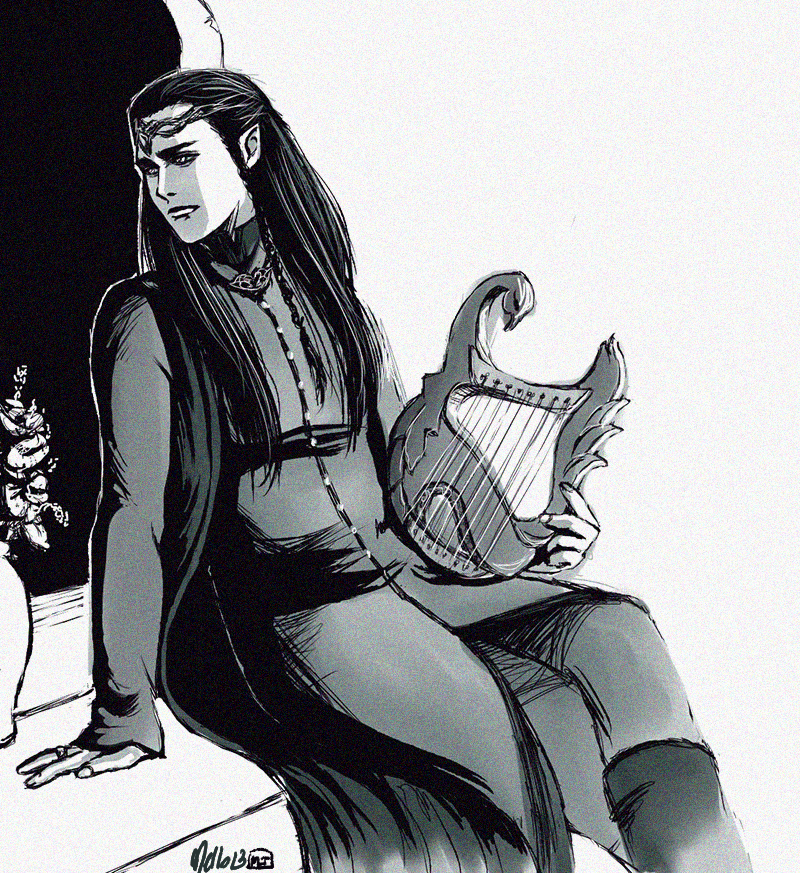 Lindir with a harp by MellorianJ