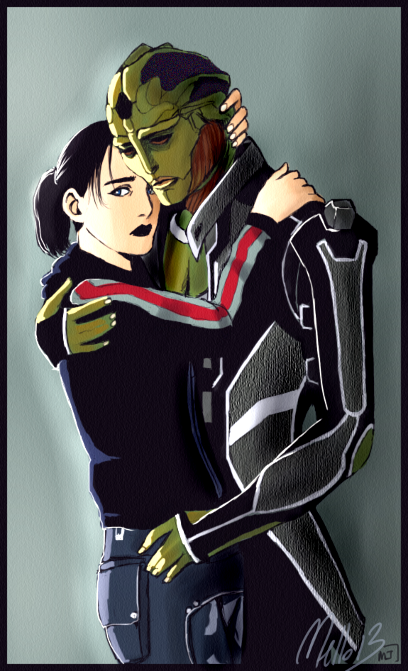 Mona Shepard and Thane Krios by MellorianJ