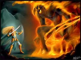 The Fall of Gondolin : Glorfindel vs. Balrog by MellorianJ