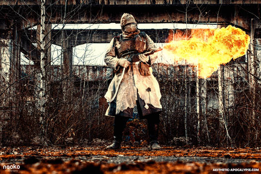 Post apocalyptic flamethrower soldier