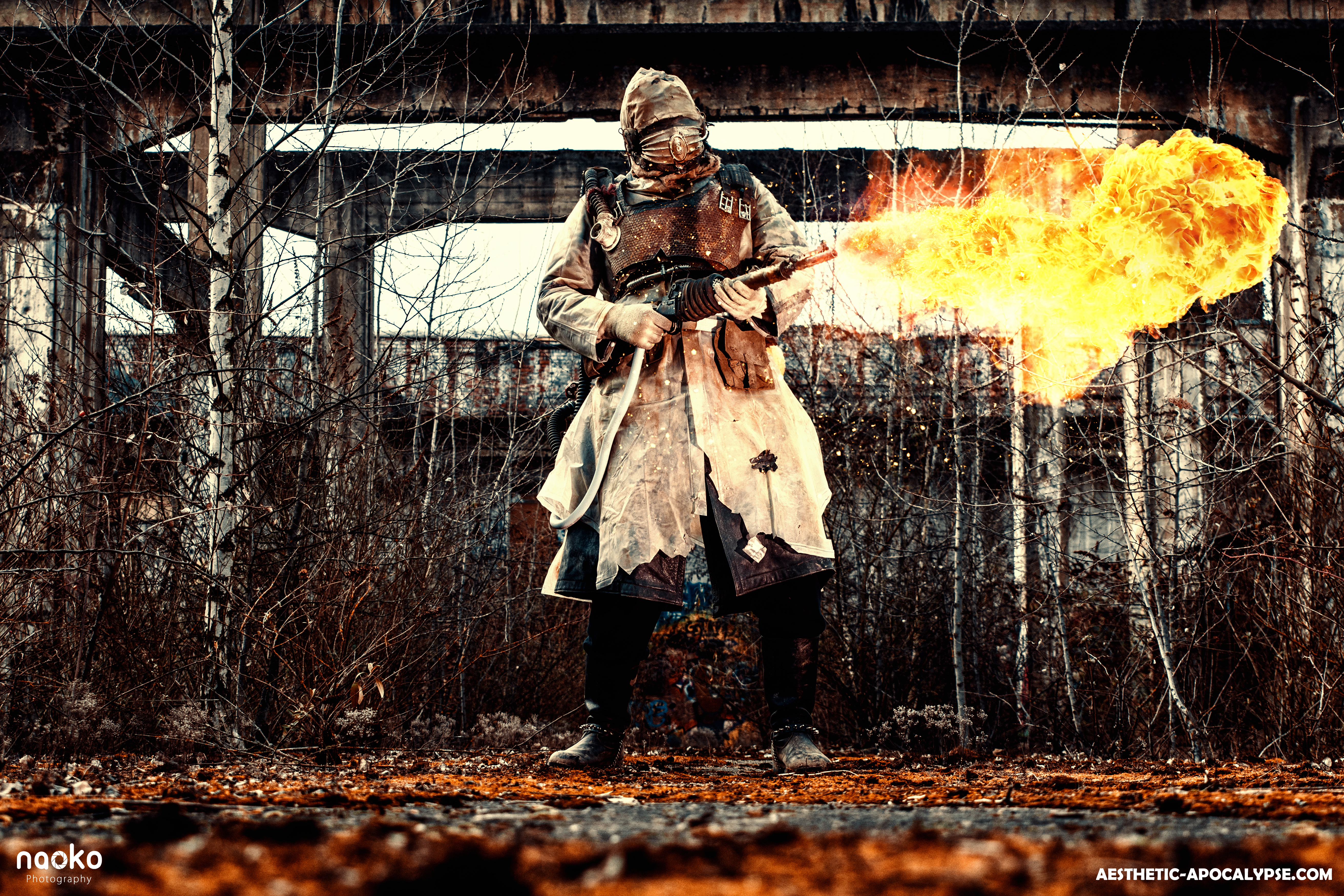 Post apocalyptic flamethrower soldier by AestheticApocalypse