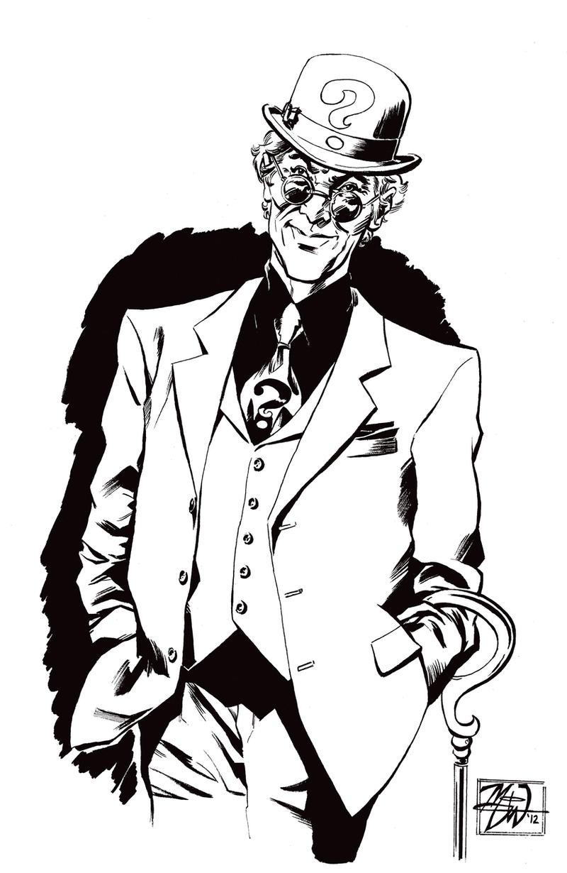 Line Drawing Riddles : Ink sketch of the riddler by rougedk on deviantart