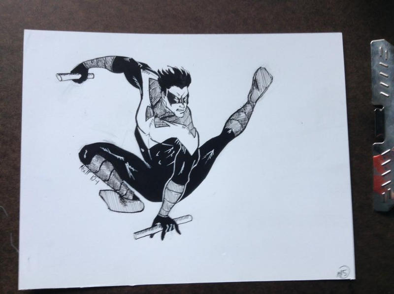 Inktober Day 1:  Nightwing by youryaleness