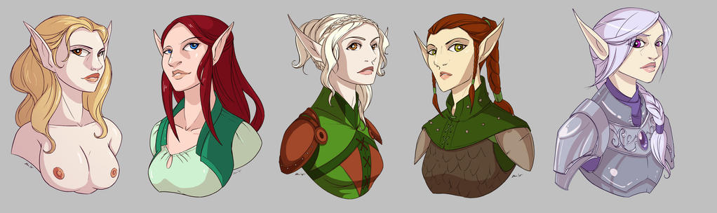 Elf Girl Bust Commissions by CapnFlynn