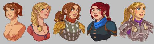 Dwarf Ladies Bust Commisions by CapnFlynn