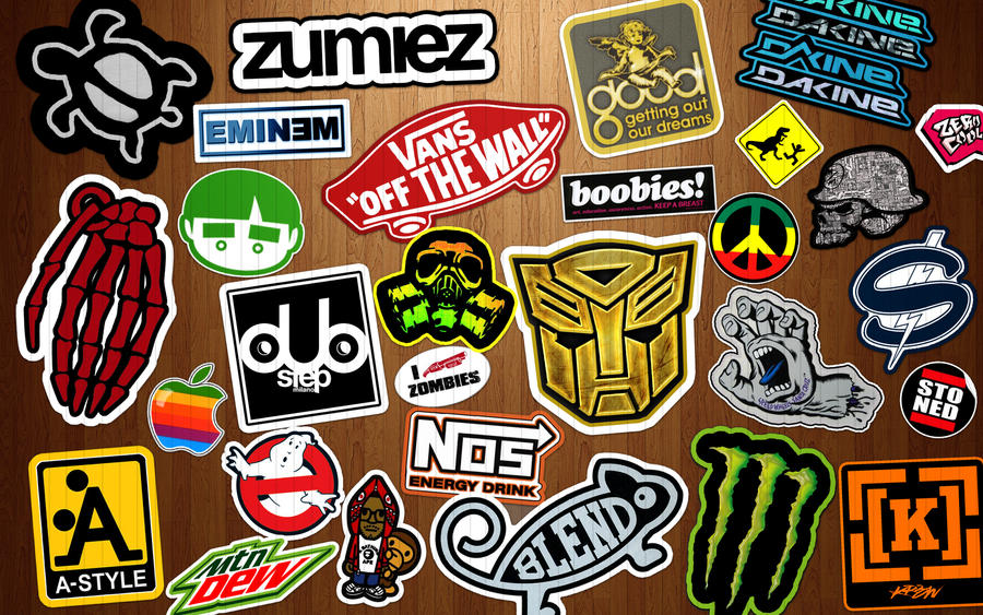 Stickers on Wood Wallpaper by dereklatondre ...